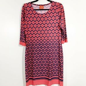 Tracy Negoshian Pink Navy Print Tunic Shift Drese